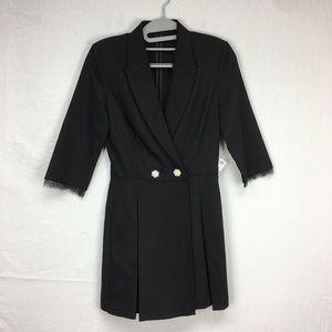 Zara Black Tuxedo Lace Trim Romper